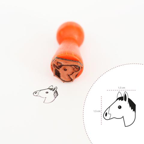 """Mini-Stempel """"Pferde-Kopf Emoji"""" 1,5 x 1,5 cm"""