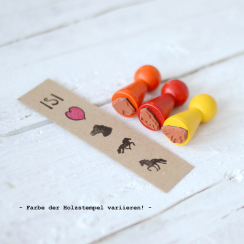 "Mini-Stempel-Set ""ISI-LOVE"" 3x 1,5 x 1,5 cm..."